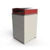 Athens Bin Enclosure - Powder Coated Base / Stainless Steel Curved Cover (Red Chute)